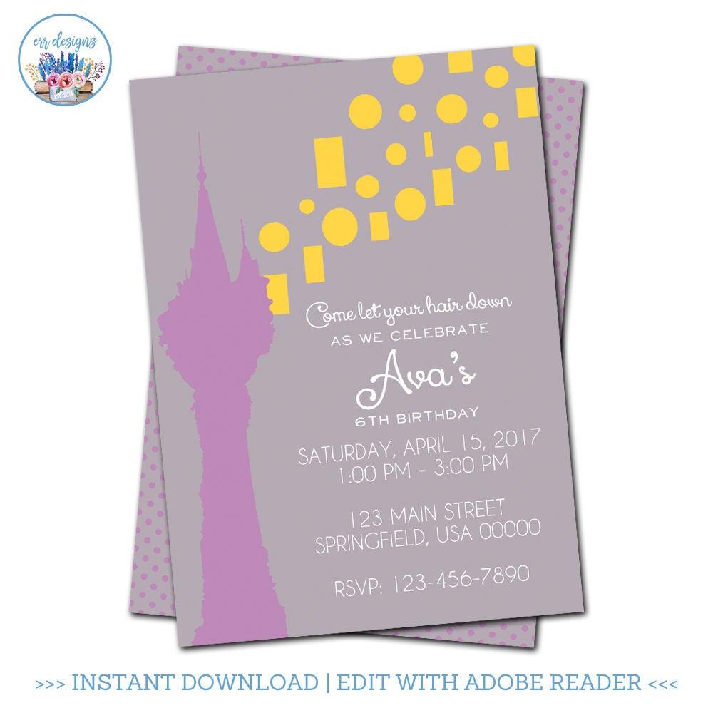 Tangled Invitation Editable Tangled Invitation Rapunzel Etsy