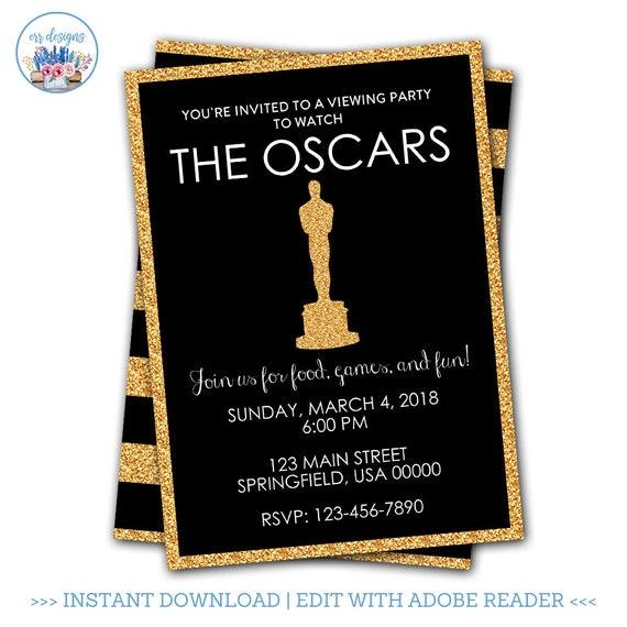 oscar party invitation editable oscar party invitation etsy