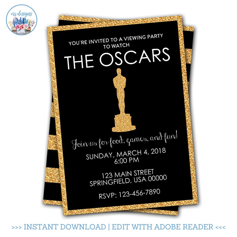 Oscar Party Invitation Editable Academy Awards Oscars