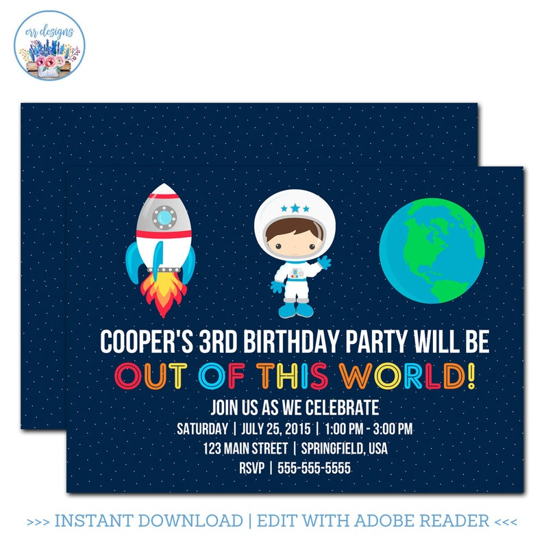 Outer Space Birthday Invitation Party