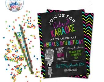 Karaoke Party Invitation, Karaoke Birthday Party Invite