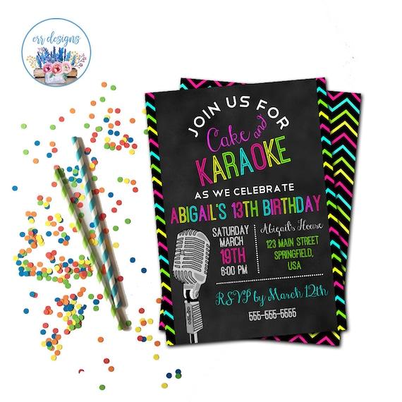 Invitación Fiesta De Karaoke Karaoke Cumpleaños Partido Invita