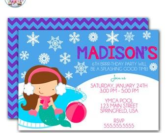 Winter Pool Party Mermaid Invitation, Winter Pool Party Invitation, Mermaid Pool Party Invitation