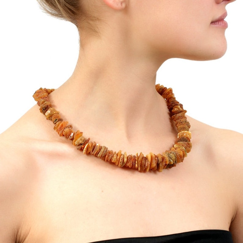 Raw amber necklace adult Healing Baltic amber necklace Untreated Genuine amber necklace Gemstone Natural stone necklace gift mom for women