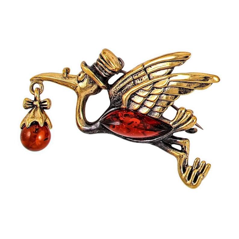 Stork baby brooch Bird brooch Vintage brooch pin gold amber Unique gift birthday New mom jewelry Gift girlfriend friend baby Cartoon jewelry