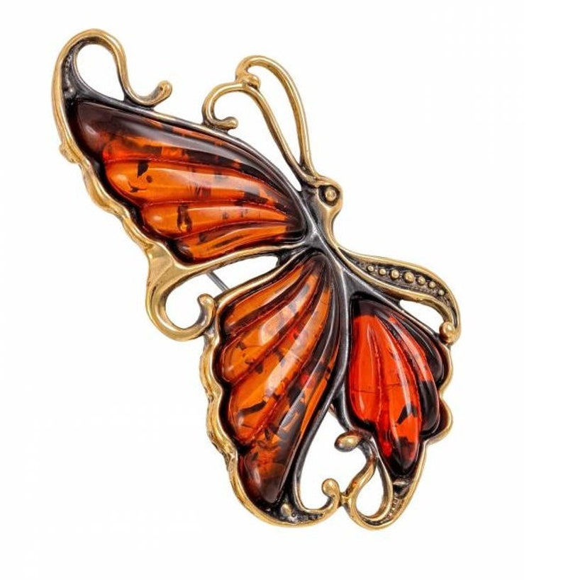 Butterfly Amber brooch insect brooch jewelry pin Thanksgiving Day Birthday Gift girl woman Butterfly jewelry Red Yellow gold brass metal