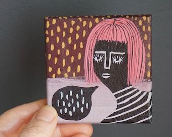 Say - Original Modern Art Small Mod Beatnik Girl Acrylic Painting on Square Canvas