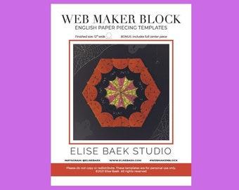 Web Maker Block - English paper piecing - EPP - Paper templates -  PDF download - EPP quilt block