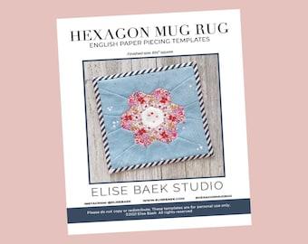 Hexagon Mug Rug Block - English paper piecing - EPP - Paper templates -  PDF download - EPP quilt block