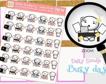 Busy day planner stickers Original doodle kawaii stickers