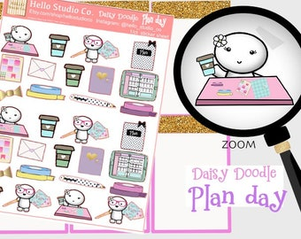 Plan day planner stickers Original doodle kawaii stickers