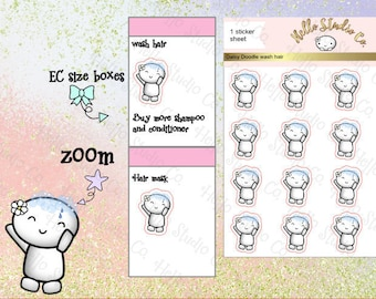 wash hair planner stickers Doodle stickers Emoti Stickers hand drawn stickers