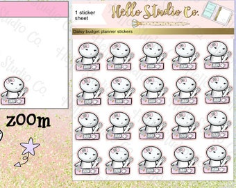 character budget planner stickers Doodle stickers Emoti stickers