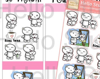 Mom life planner stickers-Daisy doodle emoti planner stickers D45