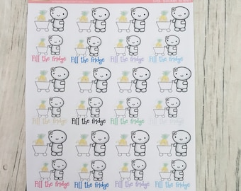 Fill the fridge grocery shopping planner stickers hand drawn doodle stickers emoti stickers