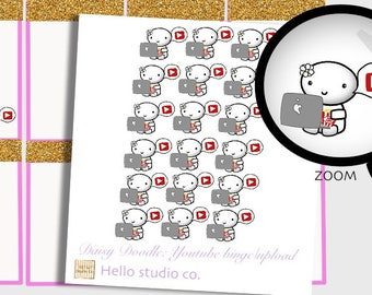 Youtube planner stickers Youtube binge stickers Video upload stickers Doodle stickers Emoti stickers