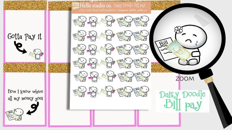 Bill Pay planner stickers Doodle stickers Emoti stickers image 0