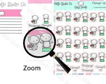 Recharge planner sticker Doodle planner stickers Emoti planner stickers