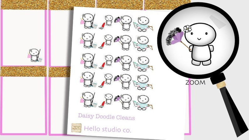 Daisy Cleaning/chore planner stickers. Cute cleaning Kawaii image 0