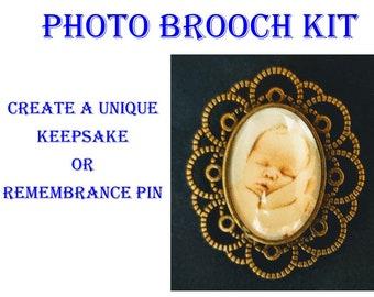 Photo Brooch KIT, Keepsake, Rememberance Pin, Create a Brooch, Sympathy Condolence or Rememberance Gift