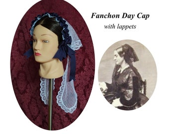 Lace Fanchon Styled Day Cap with Lappets - Daycap - Fanchon - Historical Headcovering, Breakfast Cap, Civil War, Dickens