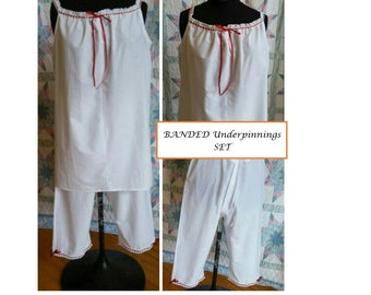 BANDED Underpinning Set - Chemise and Drawers - Regular - Historical