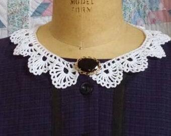 White Cotton Collar - Handmade Crochet