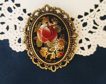 Black Floral Brooch, 19th Century Pin, Vintage Style Broach
