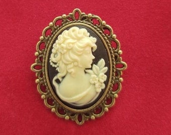 Cameo Brooch, 19th Century Pin, Vintage Style Broach, Civil War Reproduction Brooch, Gift idea