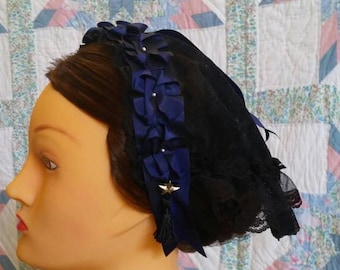 Black Lace Fanchon Styled Day Cap with Navy Blue Ribbon