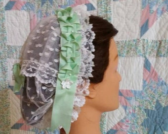 Mint Green Ribboned White Lacy Daycap