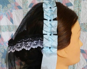 Baby Blue Ribboned  Black Net Daycap