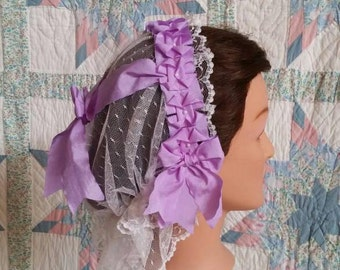 Lavender Ribboned Lacy Daycap