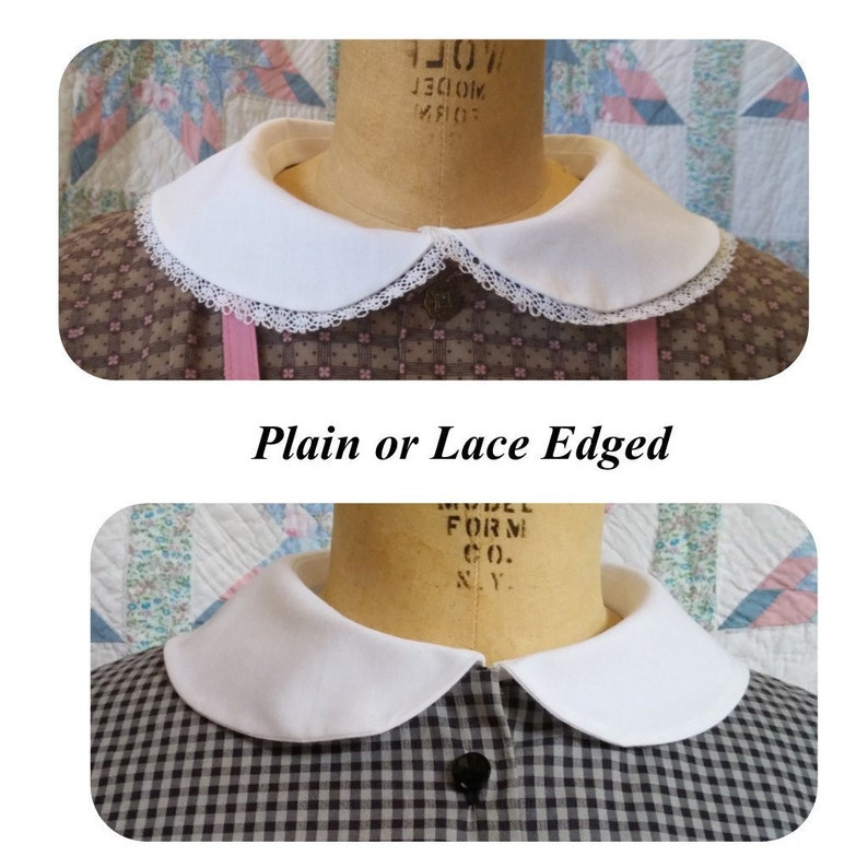 Victorian Clothing, Costumes & 1800s Fashion Cotton Collar - Rounded Collar - Peter Pan Collar $18.00 AT vintagedancer.com