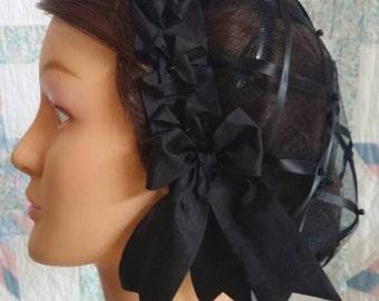 Mourning Black Ribbon Hairnet with choice of Ribbon Coronet - Plain Black or Black Velvet