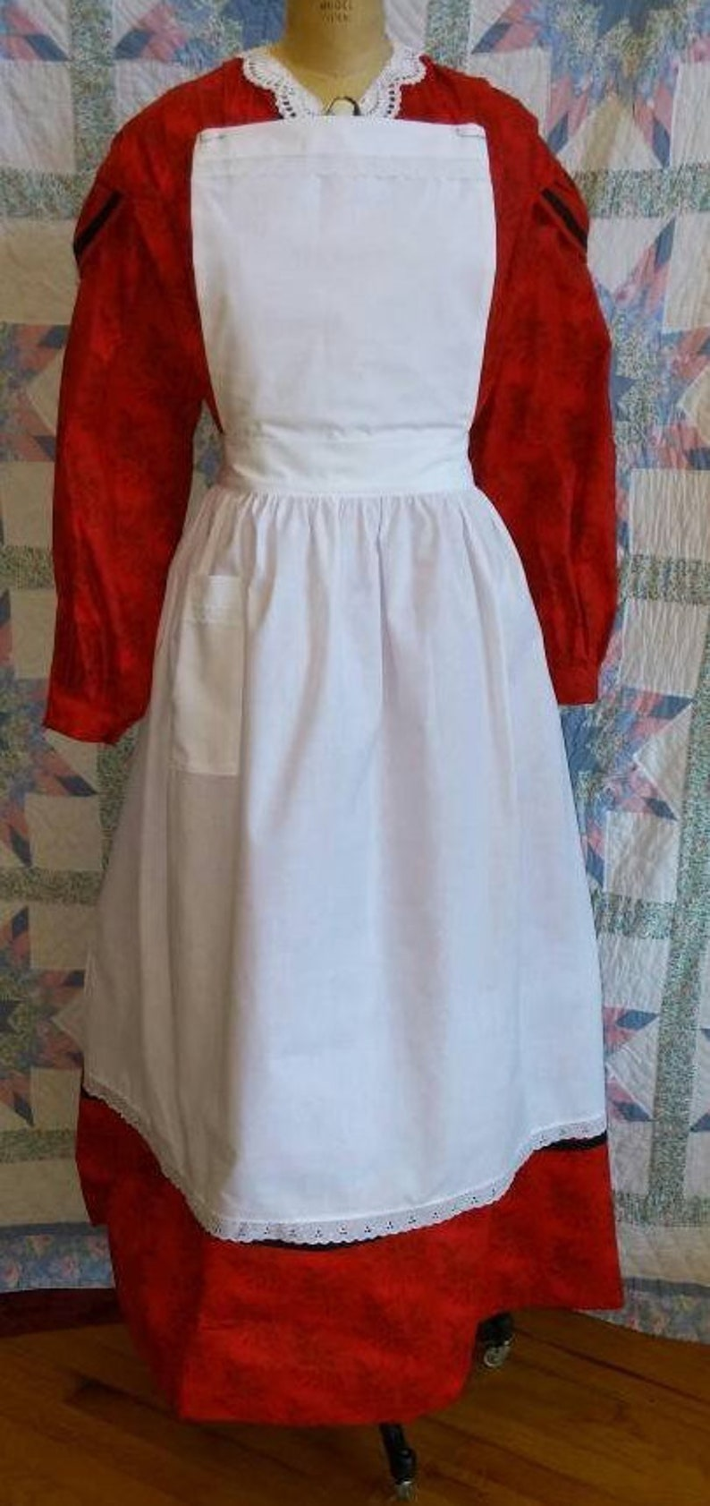 Vintage Aprons, Retro Aprons, Old Fashioned Aprons & Patterns Victorian Womens Pinner Apron $25.00 AT vintagedancer.com