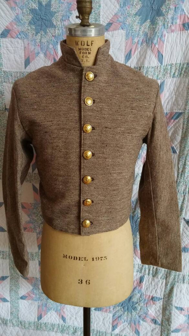 Shell Jacket - Brown Jean Wool Confederate Shell Jacket - Size 34 -Civil  War Era-