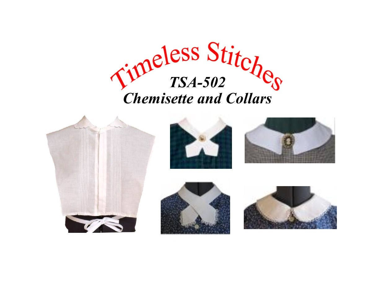 Steampunk Sewing Patterns- Dresses, Coats, Plus Sizes, Men's Patterns Chemisettes  Collars 19Th Century Pattern Timeless Stitches Sewing Pattern Tsa - 502 $10.00 AT vintagedancer.com