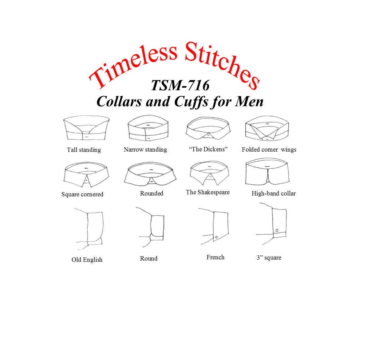 Victorian Men's Clothing, Fashion – 1840 to 1890s Collars  Cuffs For Mens Shirts 19Th Century Civilian Pattern Timeless Stitches Sewing Tsm-716 $10.00 AT vintagedancer.com