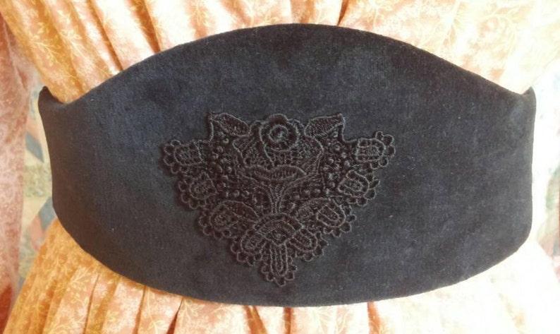 Victorian Skirts   Edwardian Skirts     Black Velvet Medici Belt with Black Applique- Civil War- Victorian-19th Century $35.00 AT vintagedancer.com