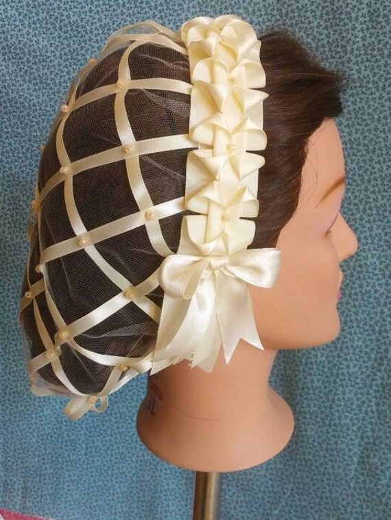 Cream Ribbon Hairnet With Choice Of Ribbon Coronet   Cream, Rust, Cream And Blue Or Green And Wine Ombre by Etsy