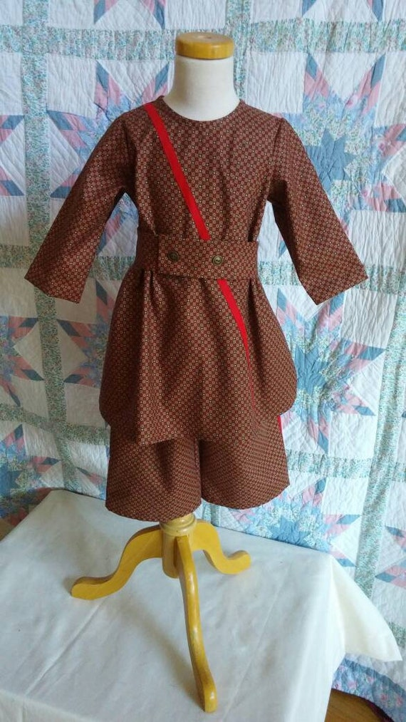 Vintage Style Children's Clothing: Girls, Boys, Baby, Toddler  Toddler Boys Tunic and Trousers - 2T Red and Brown $35.00 AT vintagedancer.com