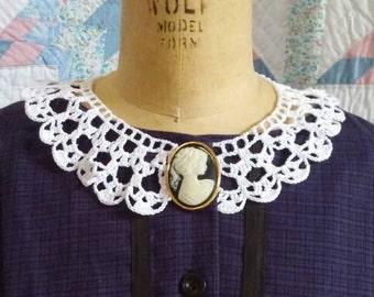 White Cotton Collar - Crocheted Handmade