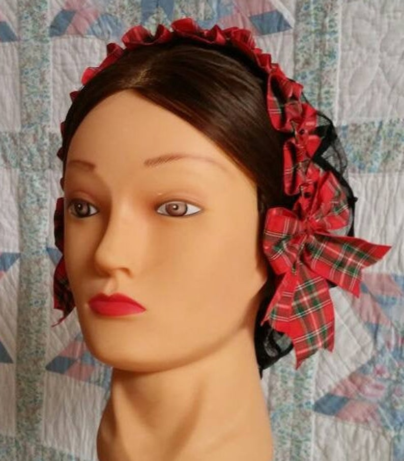 Steampunk Jewelry – Necklace, Earrings, Cuffs, Hair Clips Red Plaid Coronet on Black Satin Ribbon Hairnet $35.00 AT vintagedancer.com
