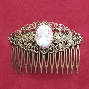 Black Rose Cameo with Bronze Filigree Hair Comb Prom Civil War Evening Bridal 19th Century Hair Accessory Victorian