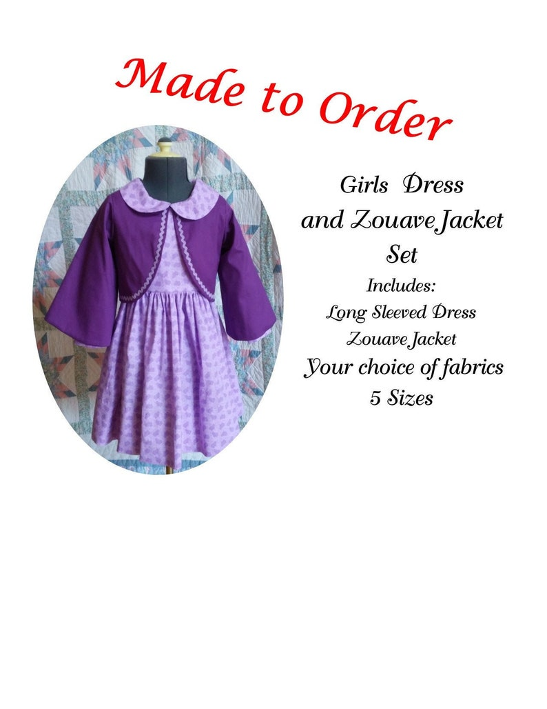 Victorian Kids Costumes & Shoes- Girls, Boys, Baby, Toddler Girls Long Sleeved Dress and Zouave Jacket Set - MADE TO ORDER - Victorian Civil War Prairie School Days Old-fashioned Historical $65.00 AT vintagedancer.com