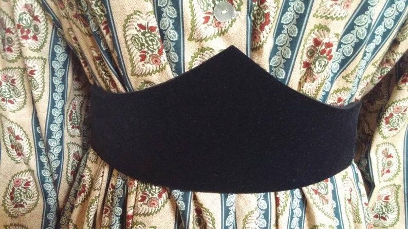 Victorian Skirts   Edwardian Skirts     Plain Black Velvet Medici Belt- Pointed OR Curved $30.00 AT vintagedancer.com