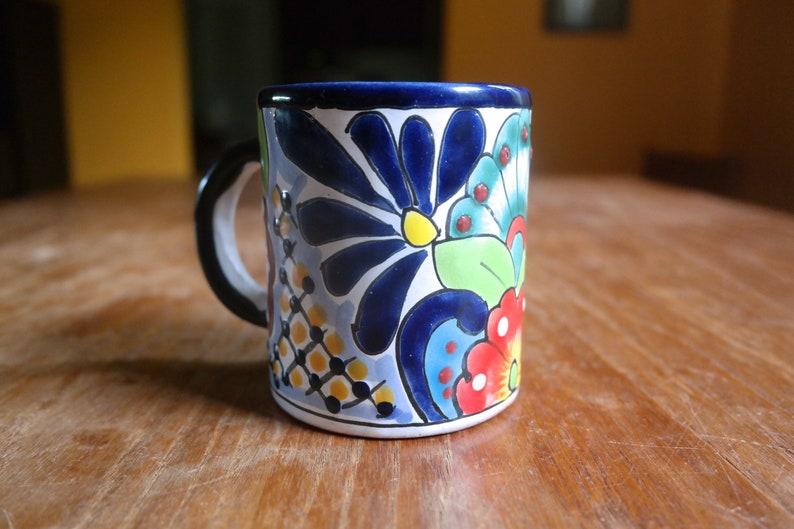 3bac28612cb Talavera Pottery Mug Mexico Lead Free Cobalt Red Green White