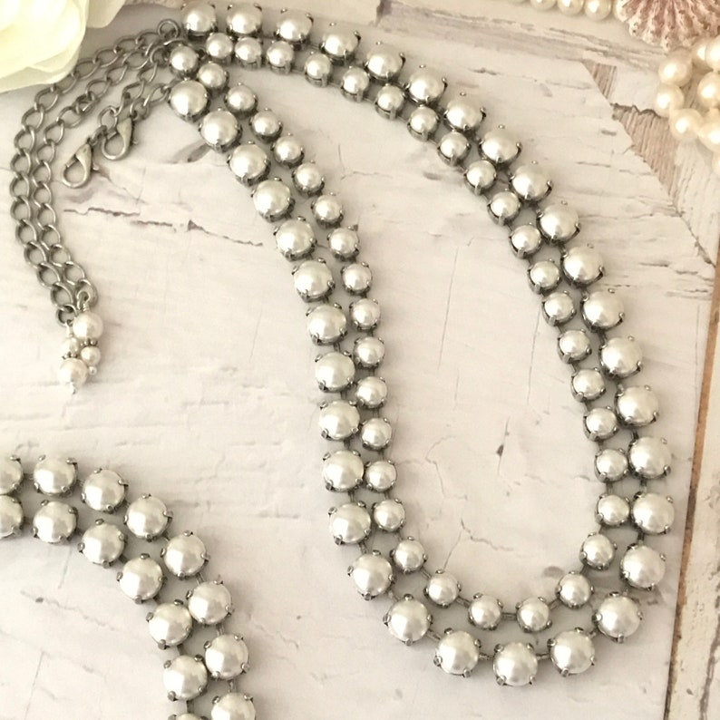 bd4c2d439e4c4 EVERYTHING PEARLS Necklace, Swarovski Elements, 8mm & 6mm Versions, Bridal  and Everyday **Choose your size** Beautiful and Versatile