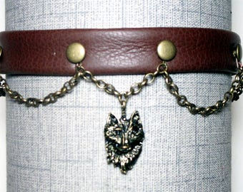 Brown Wolf Dress Collar/Choker